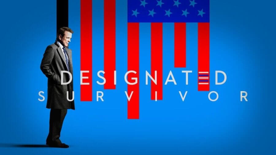 Designated Survivor — Kirman stands in front of a stylised US flag where the strips represent the blood of victims