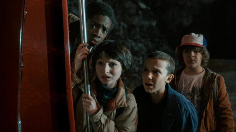 Finn Wolfhard, Millie Bobby Brown, Gaten Matarazzo and Caleb McLaughlin in Stranger Things Season 1