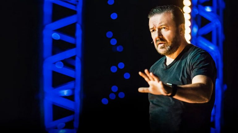 Ricky Gervais in Humanity now on Netflix