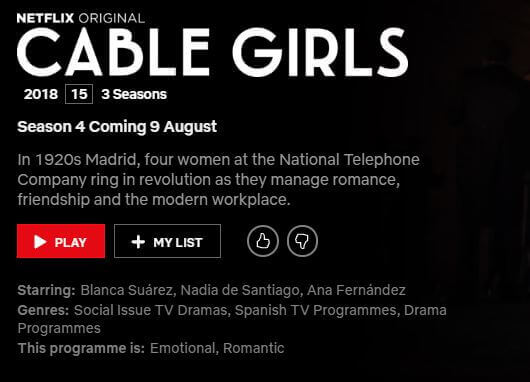 Cable Girls' Season 4 Coming to Netflix in August 2019 - What's on
