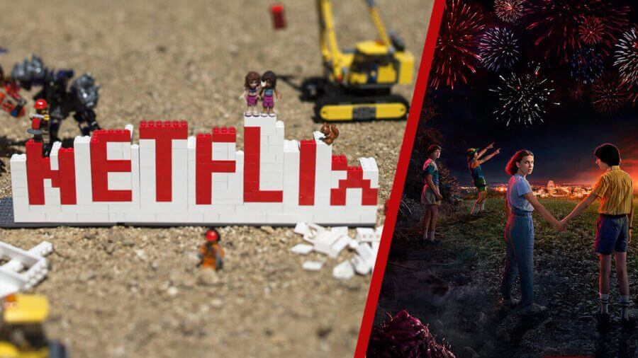 Netflix Logo in Lego & Stranger Things