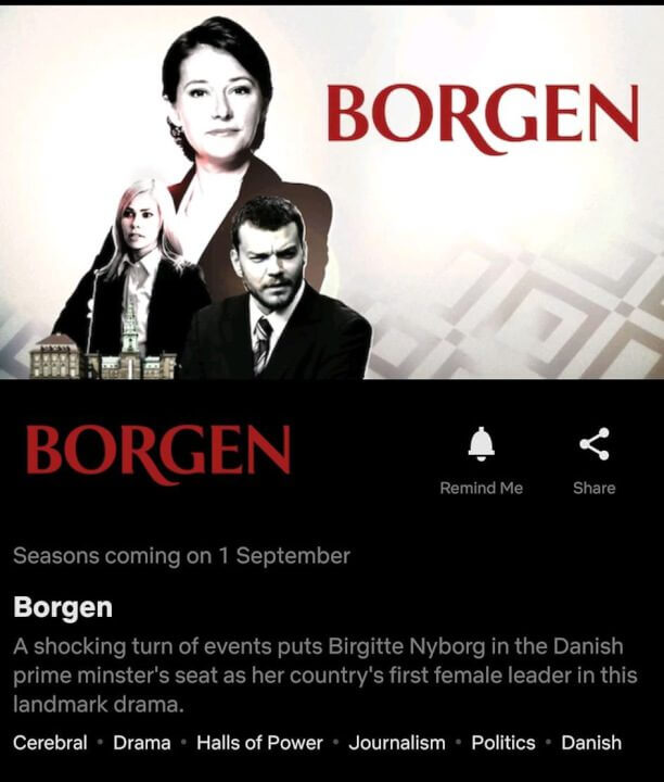 Seasons 1-3 of 'Borgen' Coming to Netflix in September 2020 - What's on  Netflix