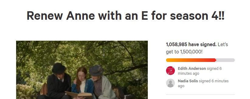 1 million signatures anne with an e