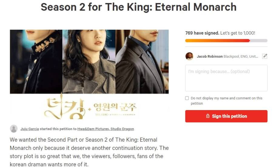the king eternal monarch season 2 netflix renewal status petition