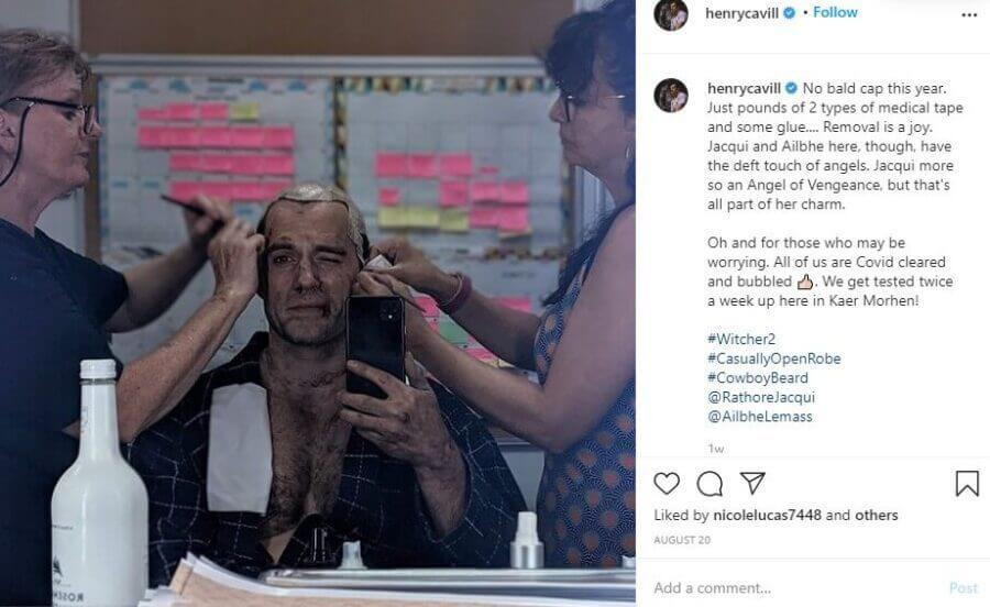 henry cavill on set the witcher s2