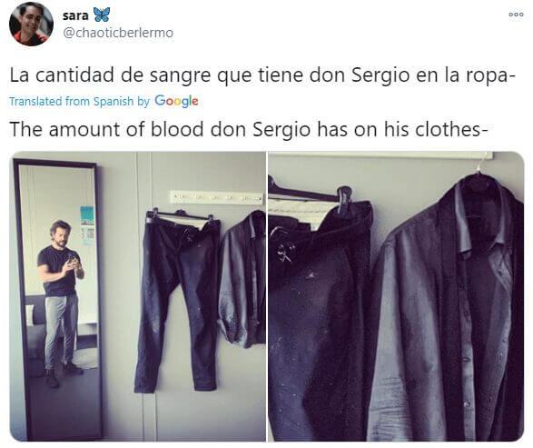 blood on professors costume netflix money heist s5