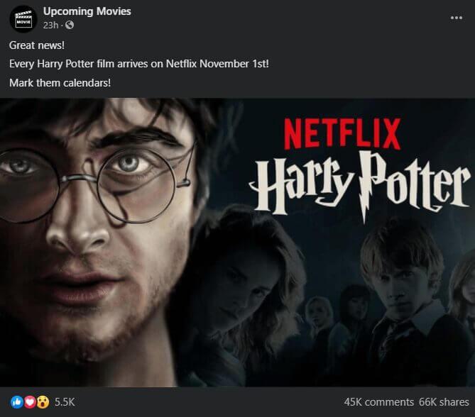 harry potter netflix post facebook