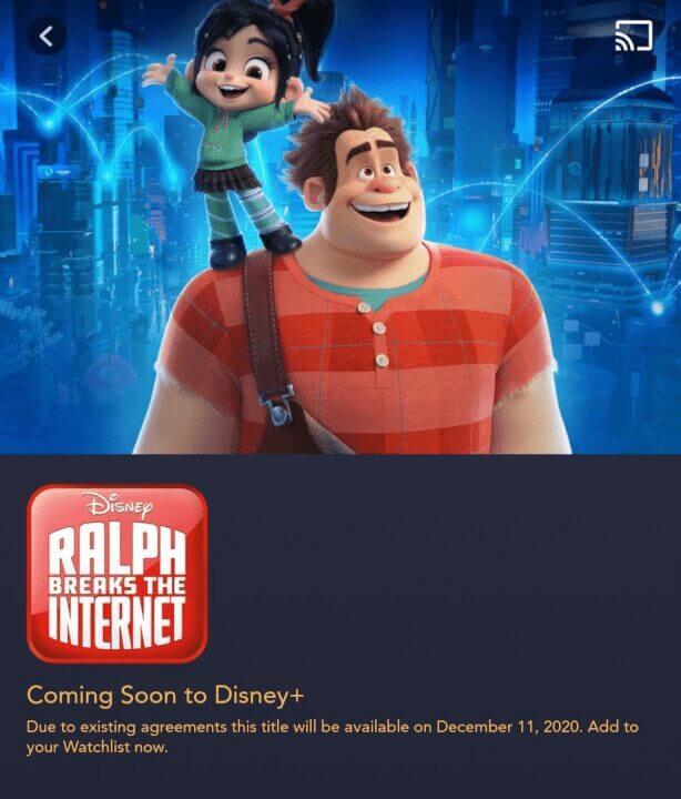 ralph breaks the internet disney plus december