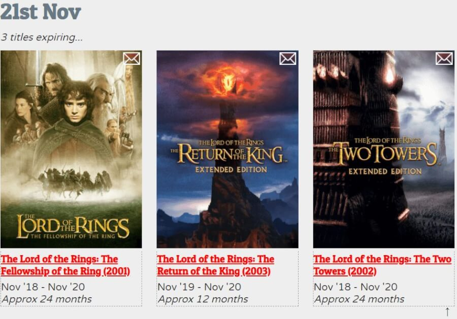 the lord of the rings rilogy is scheduled to leave netflix canada in november 2020 date