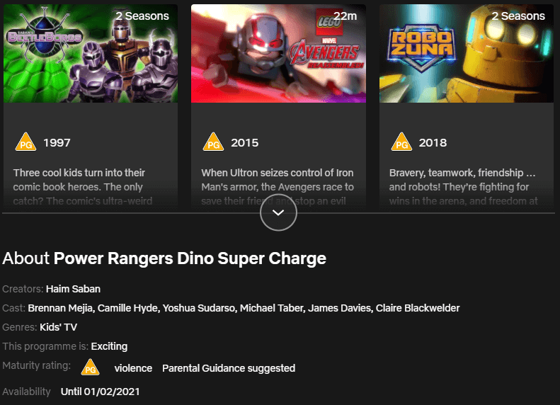 removal dates on power rangers titles netflix