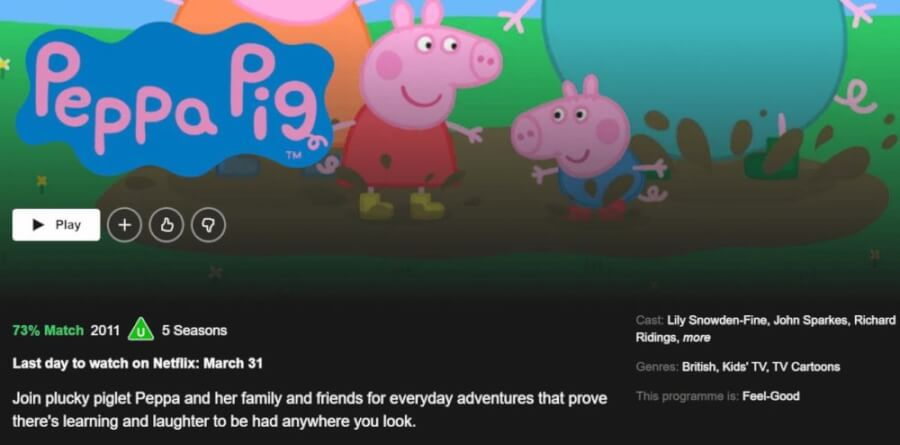 five seasons of peppa pig is scheduled to leave netflix uk in march 2021 netflix app