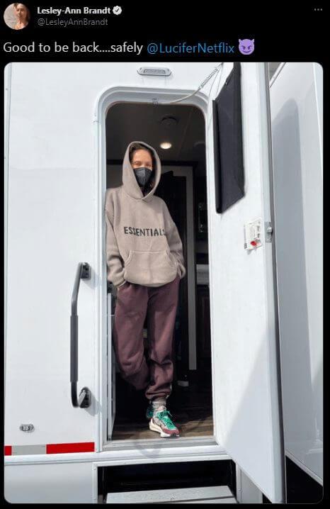 lesley ann brandt on set lucifer season 6