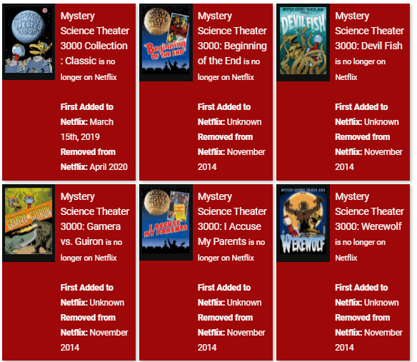 mystery science theater titles removed from netflix