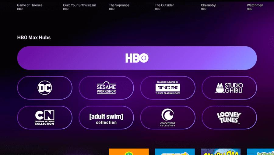 marcas internas de hbo max en la aplicación