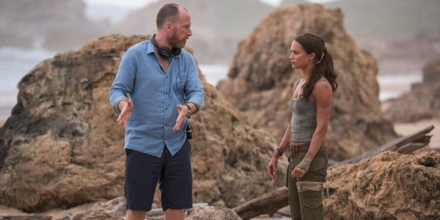 Roar Uthaug and Alicia Vikander filming Tomb Riaider